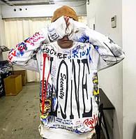 Мужская кофта с капюшоном Vlone худи белая с ярким дизайном
