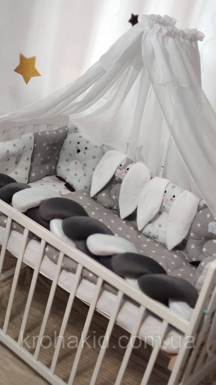 """Набор постельного белья детскую кроватку/ манеж """"Коса"""" - Бортики в кроватку / защита в детскую кроватку"""