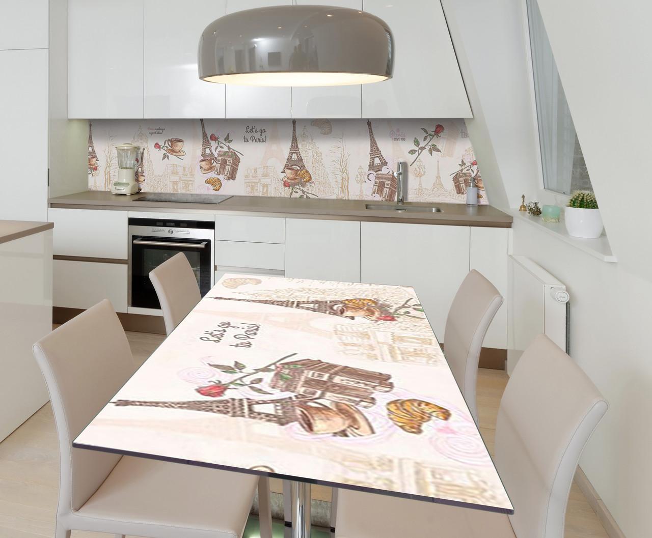 Наклейка 3Д виниловая на стол Zatarga «Символы Парижа» 650х1200 мм для домов, квартир, столов, кофейн, кафе