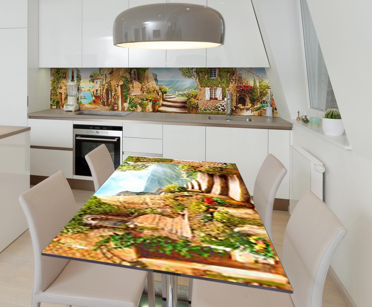 Наклейка 3Д виниловая на стол Zatarga «Английский дворик» 600х1200 мм для домов, квартир, столов, кофейн, кафе