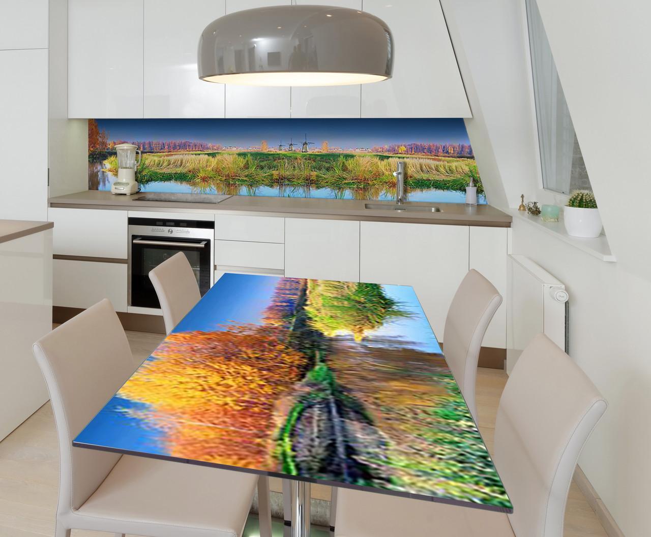 Наклейка 3Д виниловая на стол Zatarga «Мельницы» 650х1200 мм для домов, квартир, столов, кофейн, кафе