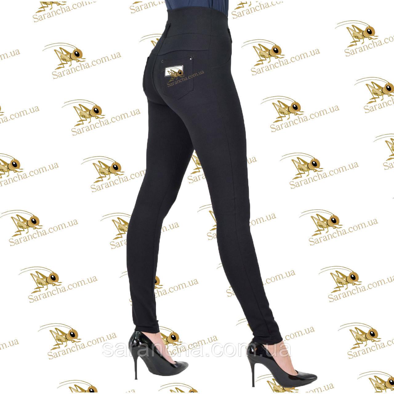 Трикотажные черные модные лосины