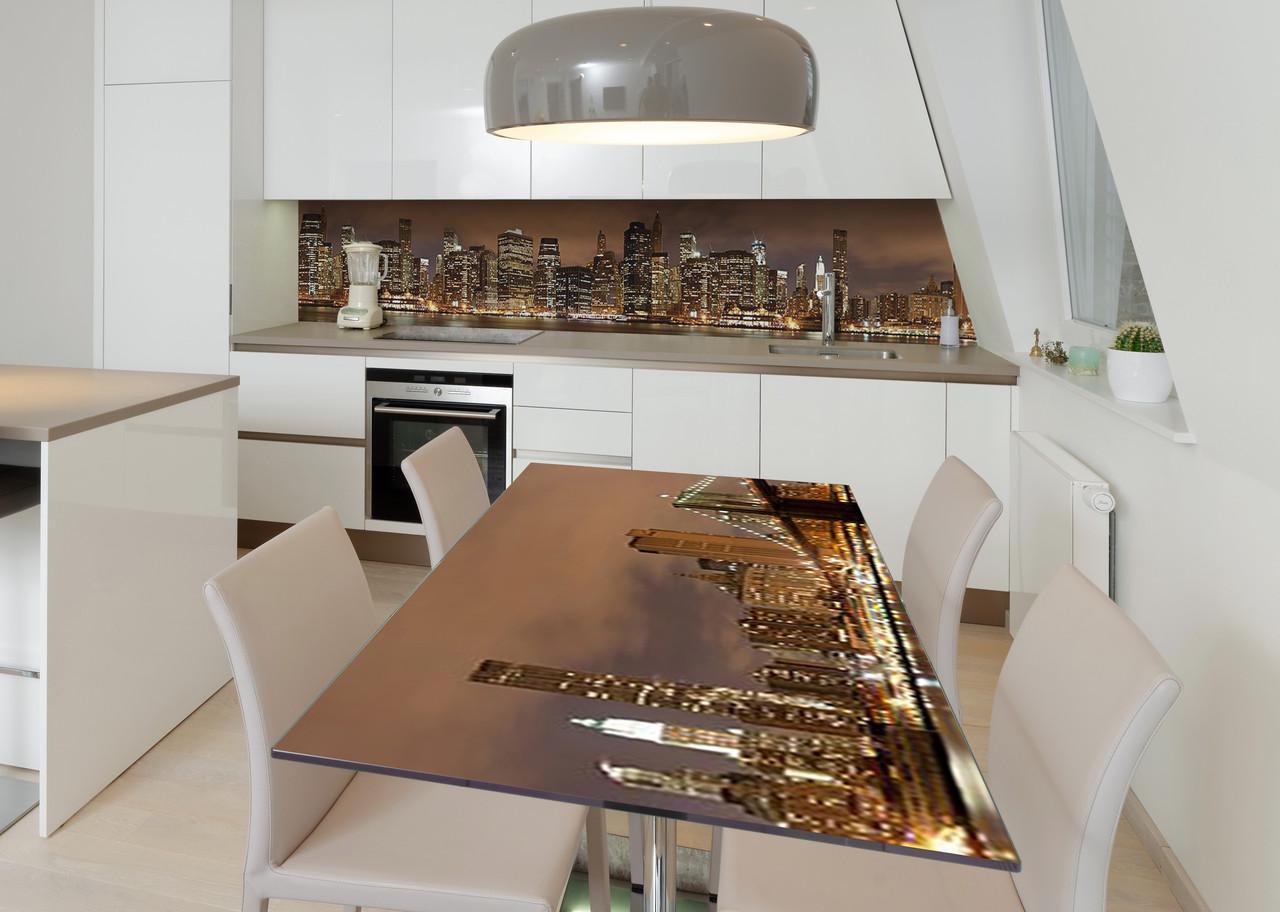 Наклейка 3Д виниловая на стол Zatarga «Ночной квартал» 650х1200 мм для домов, квартир, столов, кофейн, кафе