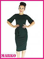 Классическое зеленое демисезонное платье туника фонарик с карманами. Повседневное деловое платье миди с поясом
