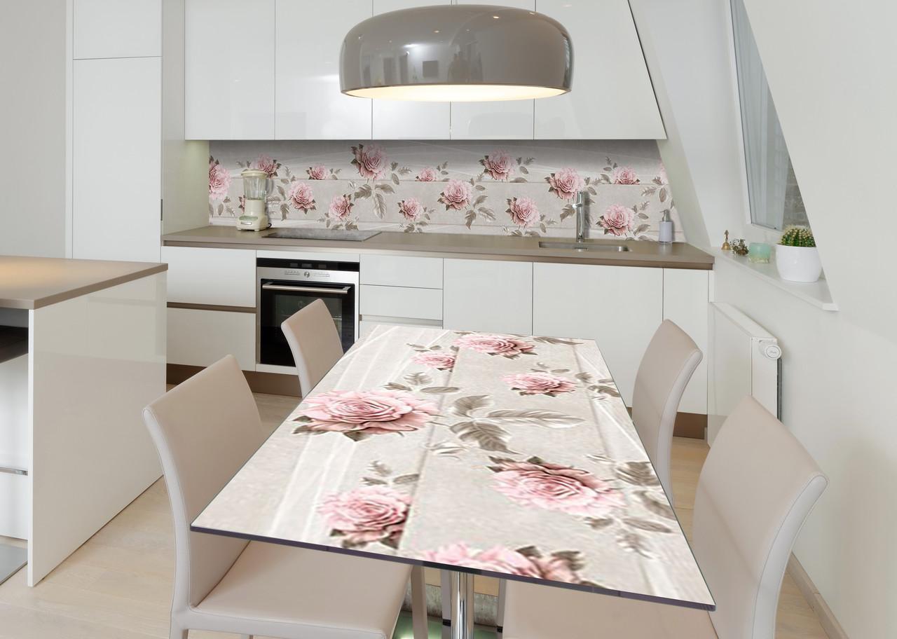 Наклейка 3Д виниловая на стол Zatarga «Печальные розы» 600х1200 мм для домов, квартир, столов, кофейн, кафе