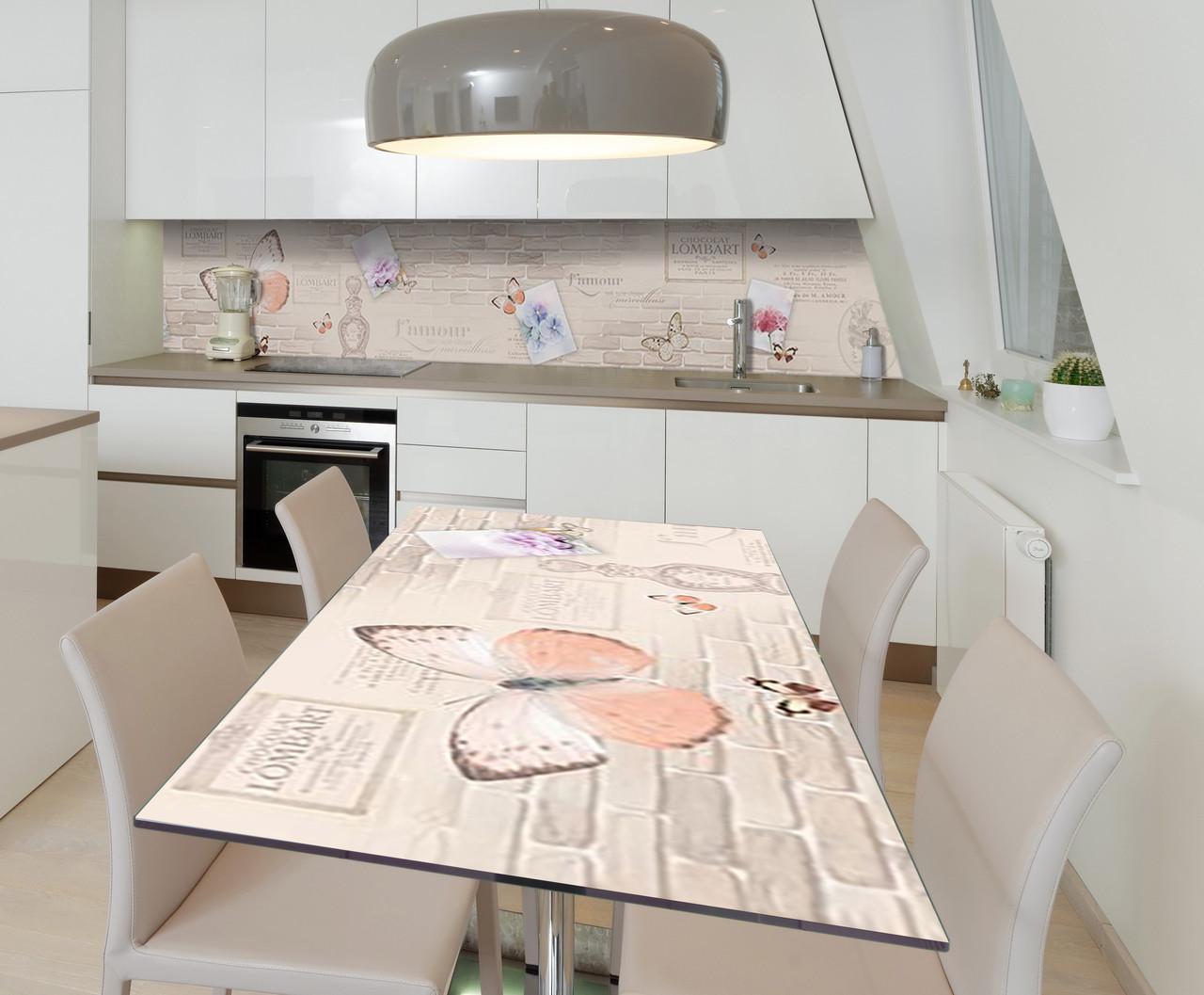 Наклейка 3Д виниловая на стол Zatarga «Французская лёгкость» 600х1200 мм для домов, квартир, столов, кофейн,
