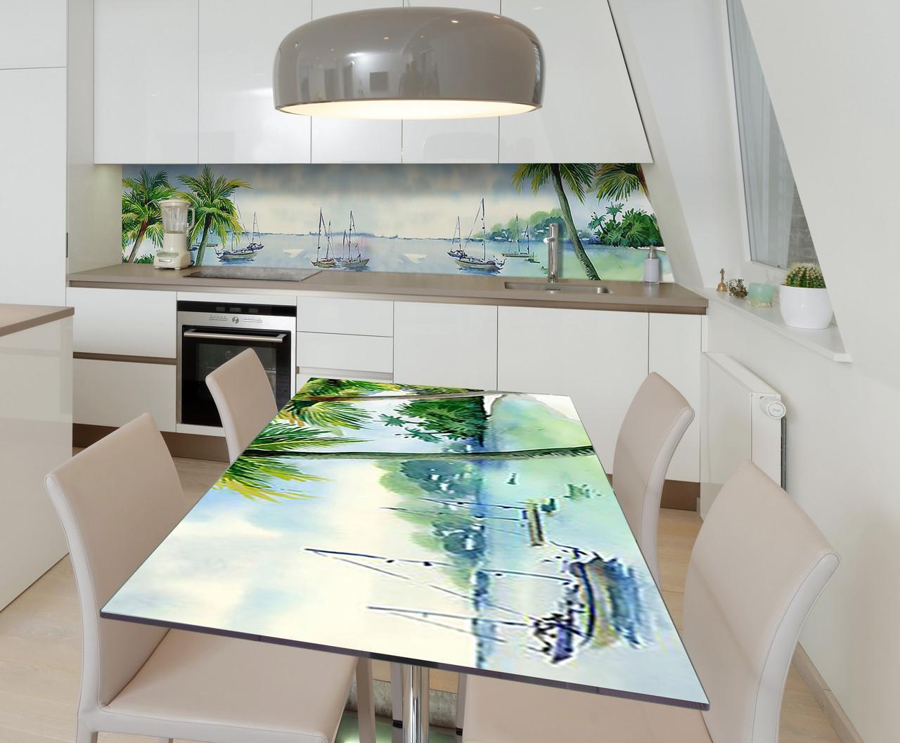Наклейка 3Д виниловая на стол Zatarga «Райская лагуна» 650х1200 мм для домов, квартир, столов, кофейн, кафе