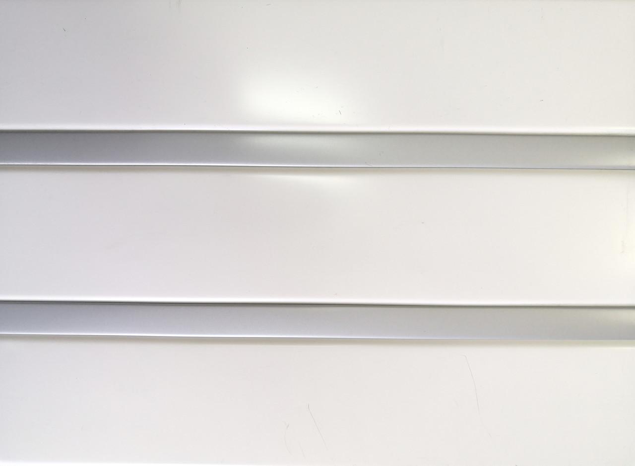 Рейкова алюмінієва стеля Allux білий матовий - срібло металік комплект 150 см х 200 см