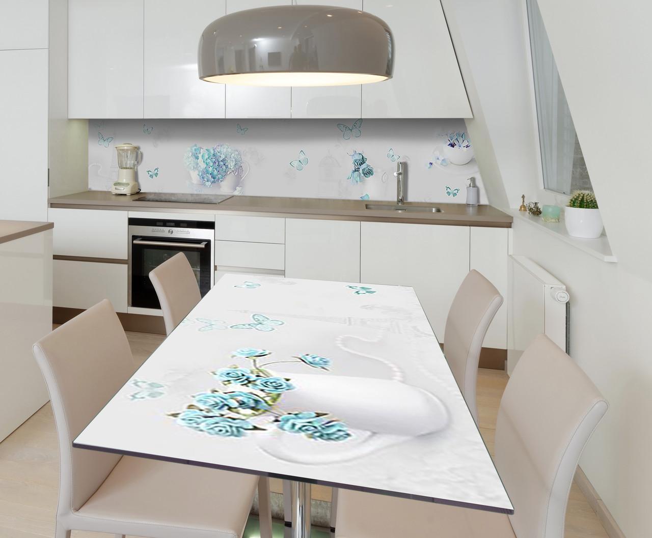 Наклейка 3Д виниловая на стол Zatarga «Бирюзовые мечты» 600х1200 мм для домов, квартир, столов, кофейн, кафе