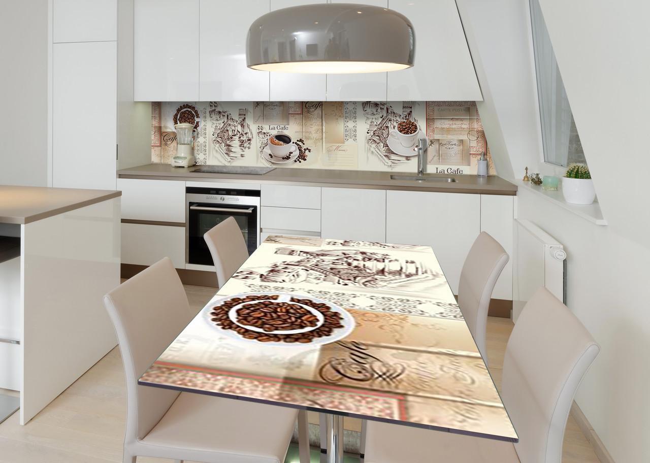 Наклейка 3Д виниловая на стол Zatarga «Кофейная переписка» 600х1200 мм для домов, квартир, столов, кофейн,