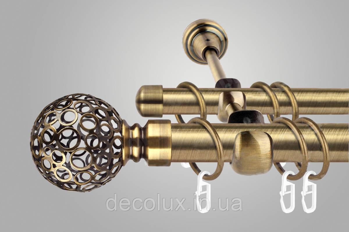 Карниз для штор двухрядный металлический 19 мм, Савона Антик