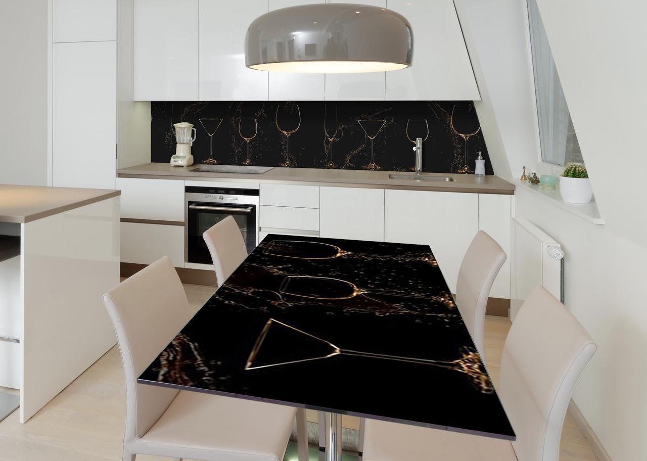 Наклейка 3Д виниловая на стол Zatarga «Брызги напитков» 650х1200 мм для домов, квартир, столов, кофейн, кафе