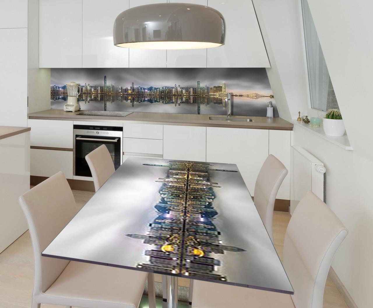 Наклейка 3Д виниловая на стол Zatarga «Призрачные небоскрёбы» 600х1200 мм для домов, квартир, столов, кофейн,