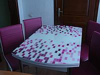 """Раскладной обеденный кухонный комплект полуовальный стол стулья """"Фиолетовая мозаика"""" ДСП стекло 75*120 Лотос-М"""