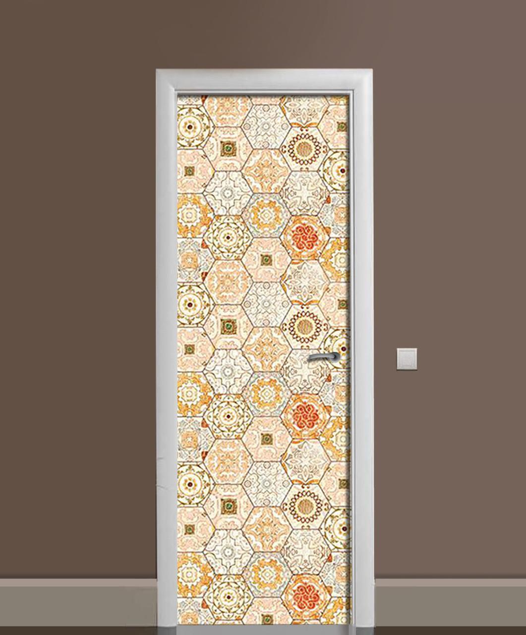 Наклейка на дверь Zatarga «Охровая азулежу» 650х2000 мм виниловая 3Д наклейка декор самоклеящаяся