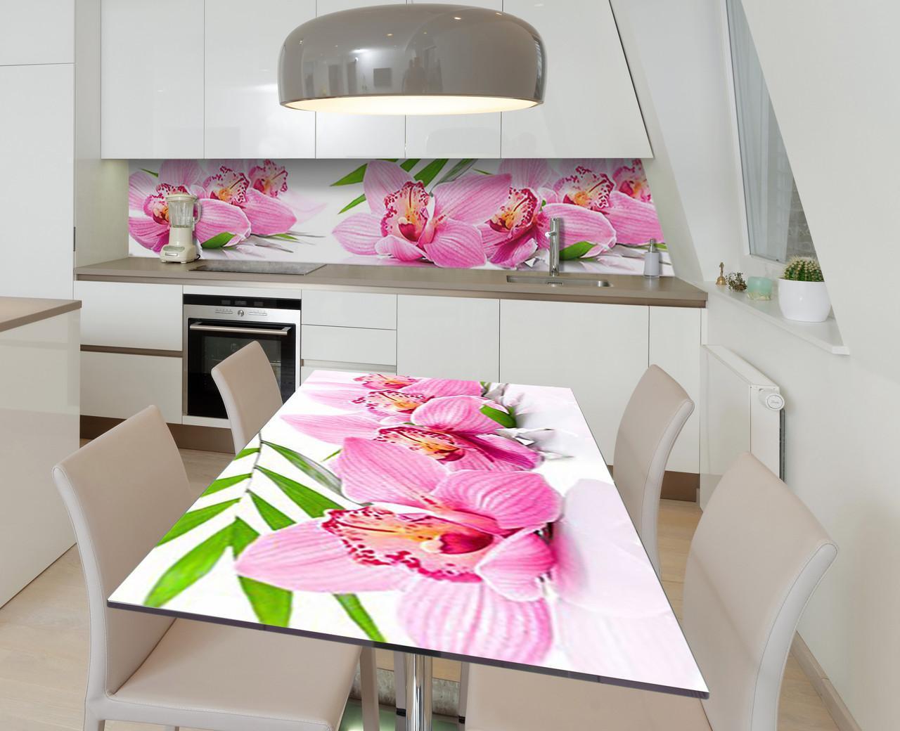 Наклейка 3Д виниловая на стол Zatarga «Сон орхидеи» 600х1200 мм для домов, квартир, столов, кофейн, кафе