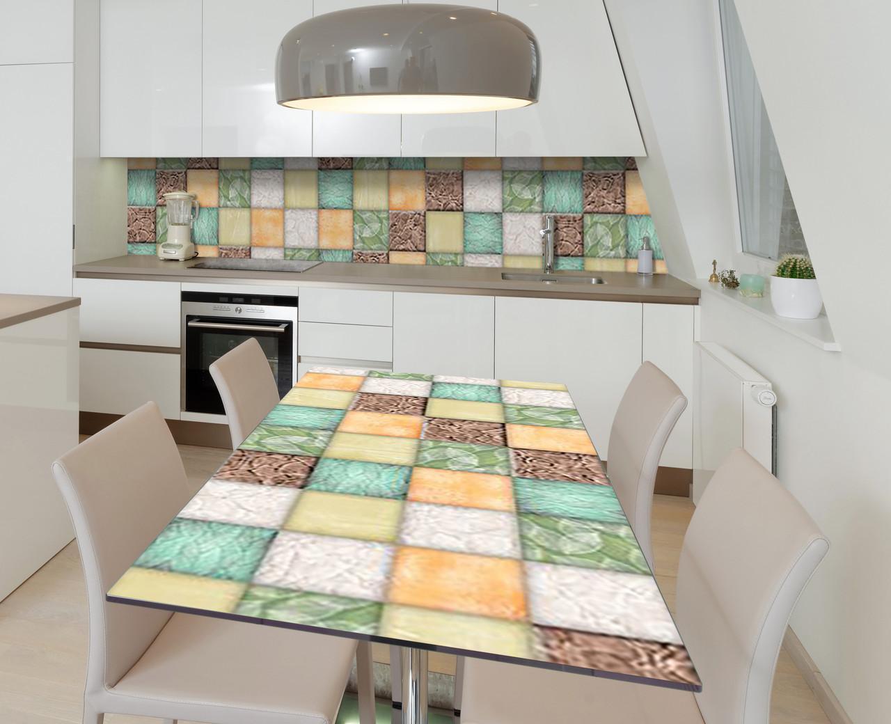 Наклейка 3Д виниловая на стол Zatarga «Мозаика» 600х1200 мм для домов, квартир, столов, кофейн, кафе