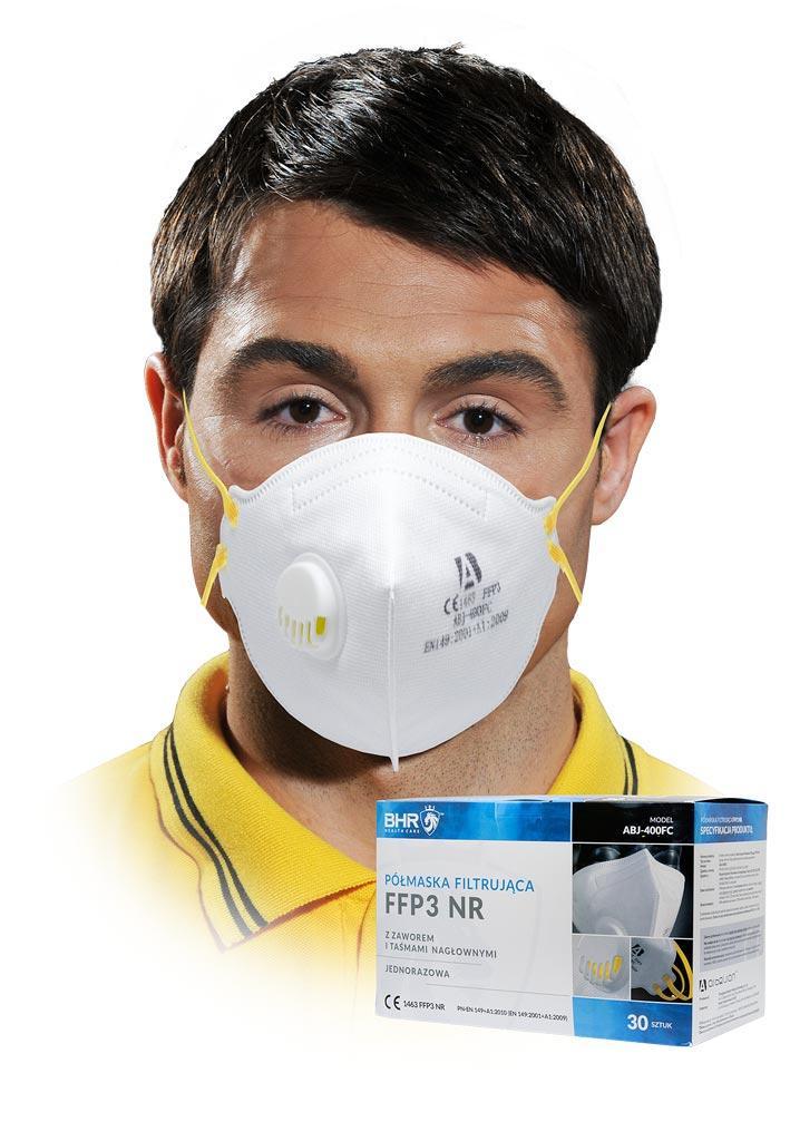 Пилозахисна маска з клапаном MASS-FFP3VABJ400 Вт UNI