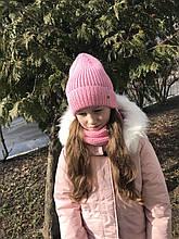 Демисезонный детский вязаный набор шапочка и снуд для девочки ручной работы.