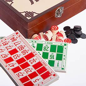 Лото настольная игра в деревянной коробке коричневый W9902
