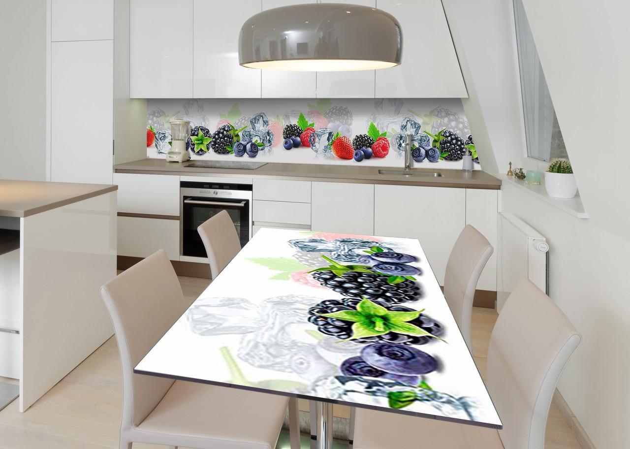 Наклейка 3Д виниловая на стол Zatarga «Замороженные фрукты» 650х1200 мм для домов, квартир, столов, кофейн,