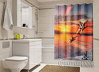 """Фото Шторка для ванной """"Два самолета"""""""