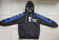 Двусторонняя куртка-ветровка на подростка 6-10 лет  Синий, фото 1