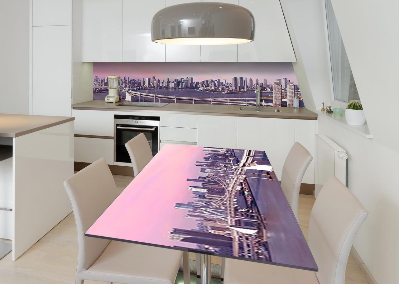 Наклейка 3Д виниловая на стол Zatarga «Деловой центр» 600х1200 мм для домов, квартир, столов, кофейн, кафе