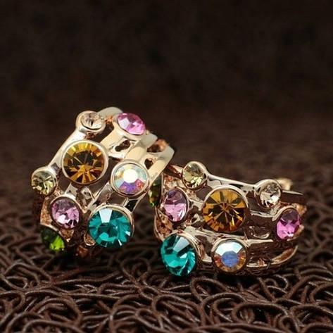 Яскраві жіночі сережки з кольоровими каменями Сваровскі позолота, фото 2