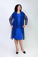 Классическое женское платье с украшением  в виде колье и легкой накидкой, фото 1