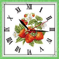 Часы. Клубника . Набор для вышивки крестом с печатью на ткани 14ст