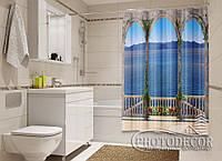 "Фото Шторка для ванной ""Терраса с видом на море"""