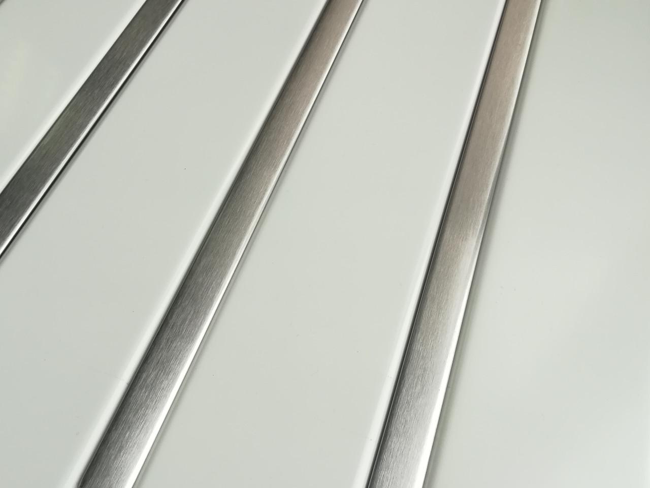 Реечный алюминиевый потолок Allux белый матовый - нержавейка сатин комплект 200 см х 350 см