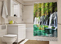"""Фото Шторка для ванной """"Водопад в парке"""""""