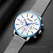 Оригинальные мужские часы хронограф стальной ремешок Curren 8340 Silver-Blue / Часы Курен, фото 3