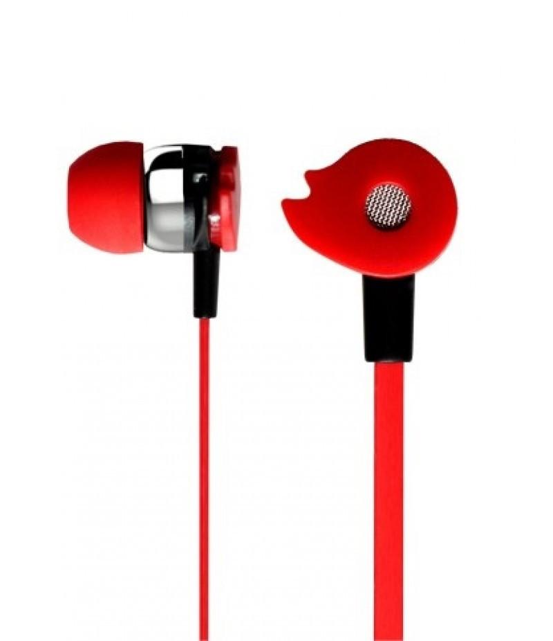 Наушники Celebrat D1 (микрофон, плоский шнур) Red
