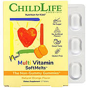 Мультивитамины для детей со вкусом натурального апельсина, Multi Vitamin SoftMelts, ChildLife, 27 таблеток