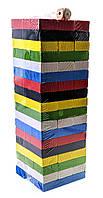 """Игра настольная """"Дженга"""" цветная с кубиком (54 бруска)(22х7,5х7,5 см)"""
