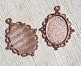 Основа сеттинг для кулона под кабошон овальный Золото розовое 40х30 мм кабошон 25х18 мм, фото 2