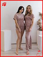 Пижама женская легкая с шортиками домашний набор для девушек пудрового цвета пижама домашняя одежда для сна