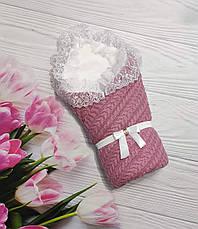 Дитячий демісезонний в'язаний конверт на виписку, конверт-ковдру (ВЕСНА/ ОСІНЬ) - плед+ ковдру+ бант гумка, фото 2