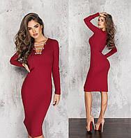 Женское трикотажное платье с красивым декольте.Размеры:42/44,46/48+Цвета