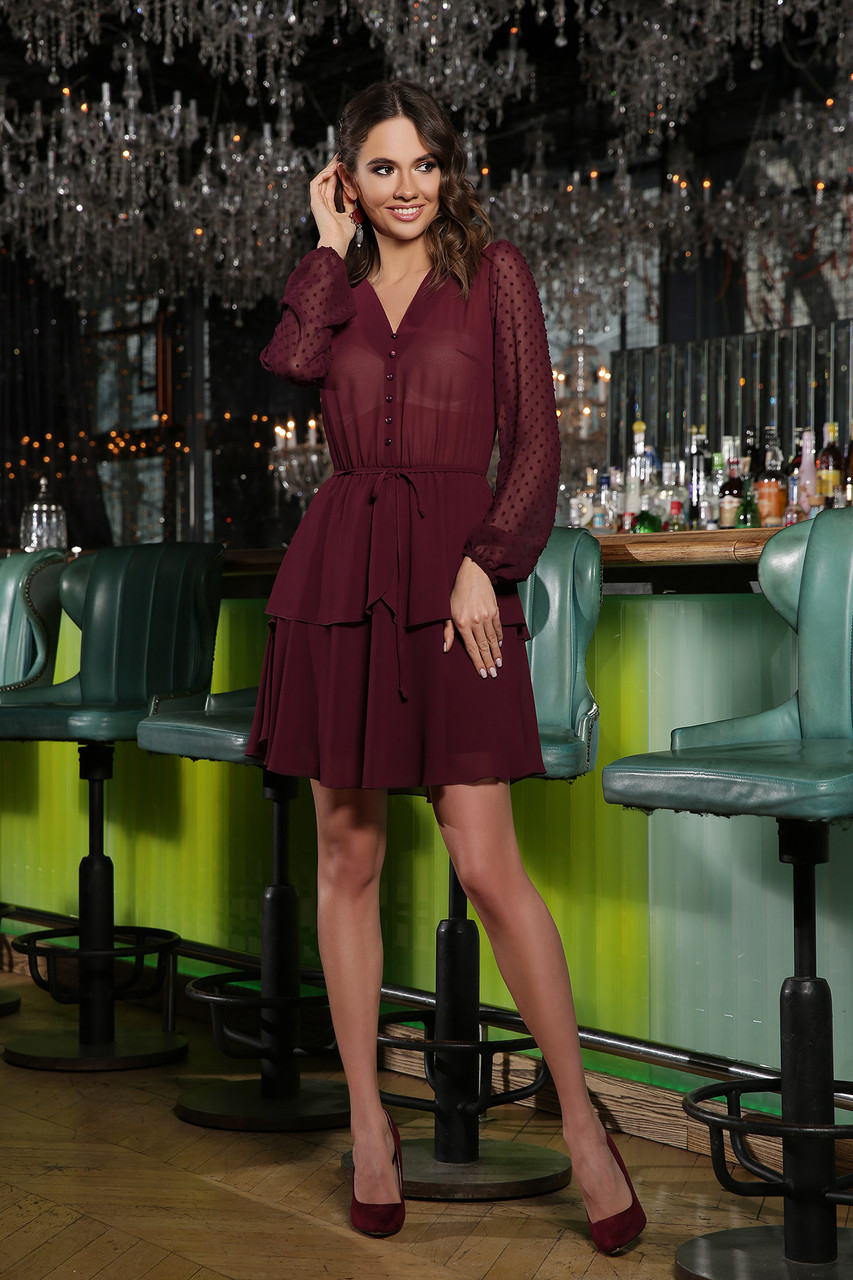 Платье шифоновое бордовое Лора