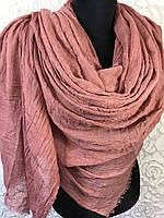 Женский однотонный пыльно-розовый шарф большого размера