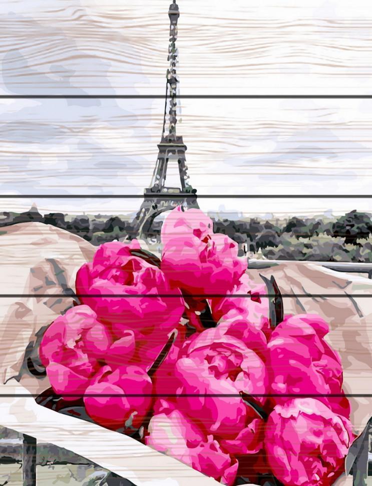 Картина по номерам на дереве. Rainbow Art Пионы в Париже GXT31855-RA