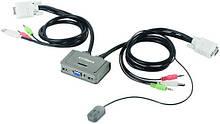 Комутатор KVM Edimax EK-2U2CA USB з підтримкою Audio на 2 ПК з кабелями