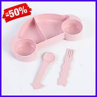 Набор бамбуковой посуды для детей 2 в 1 Машинка розовая, детский набор экологической посуды из бамбука