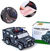 Машинка детский сейф с кодом и отпечатком пальца CASHTRUCK | Детский сейф игрушка | Копилка полицейская машина