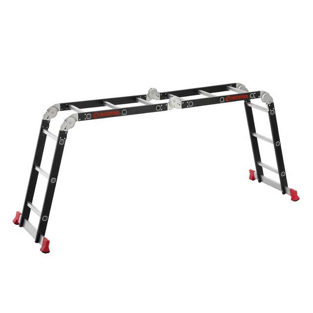 Лестница мультифункциональная трансформер 4х3 ступени, стальной профиль, 3380мм, 150 кг INTERTOOL LT-0023