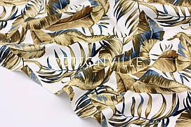 Декоративная ткань/ панама Листья пальмы ХАКИ
